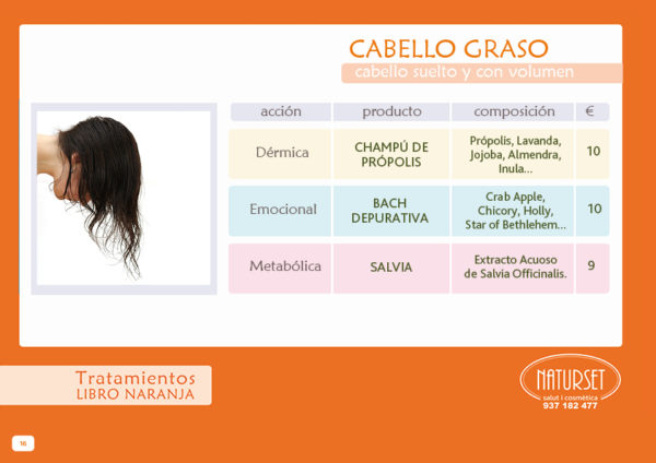 Cabello Graso, Tratamiento Libro Naranja de Naturset