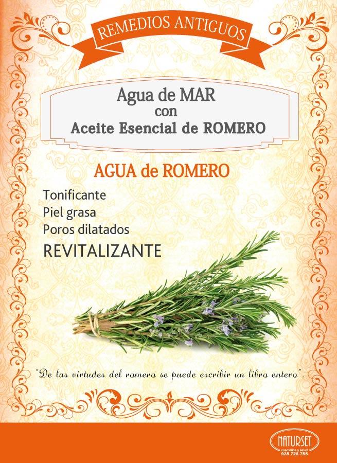 Agua de Romero: Agua de Mar con aceite Esencial de Romero.