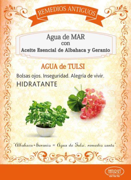 Agua de Tulsi: Agua de Mar con Aceite Esencial de Albahaca y geranio. Remedios Antiguos de Naturset.