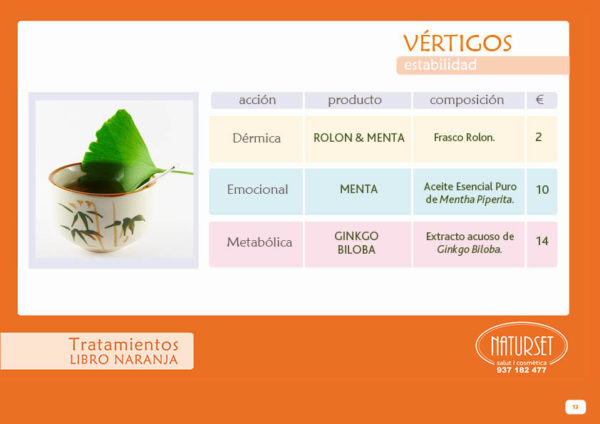 Vértigos - Tratamiento - Libro Naranja de Naturset